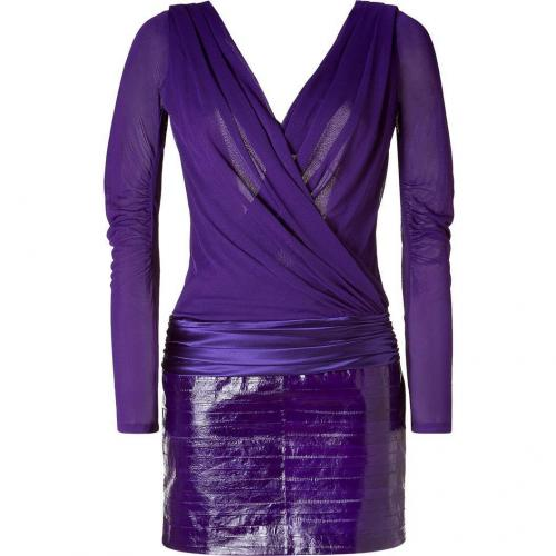 Jay Ahr Violet Scoop Back Dress With Eel Skin Skirt
