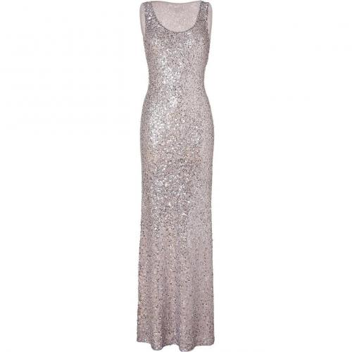 Jenny Packham Platinum Scoop Neck Gown