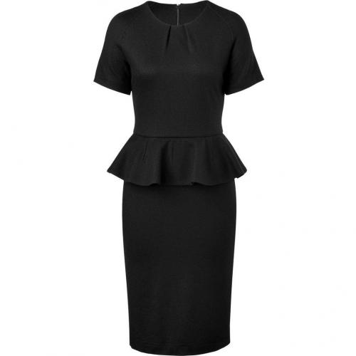 Jil Sander Black Wool Peplum Dress