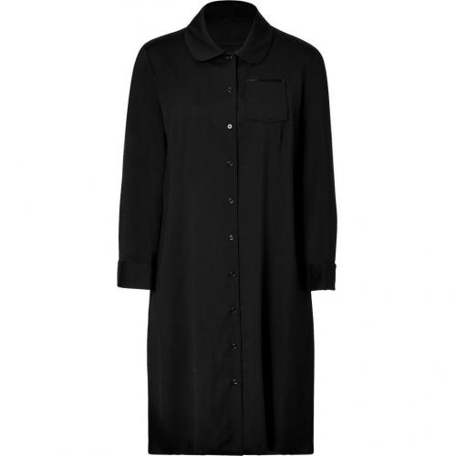 Jil Sander Navy Black Button-Down Stretch Wool Shirtdress