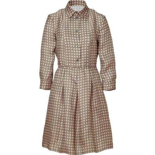 Jil Sander Navy Nude/Olive Printed Organza Dress