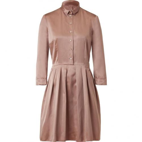 Jil Sander Navy Rosé Pleat Silk Sateen Dress