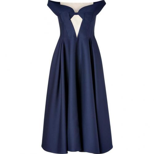 Jil Sander Navy Wool Mid-Length Swing Dress