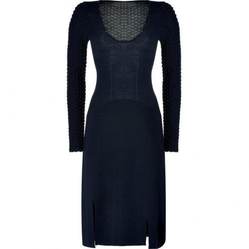 Jil Sander Navy Wool Textural Knit Dress