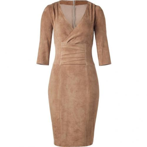 Jitrois Camel Stretch Leather Dress