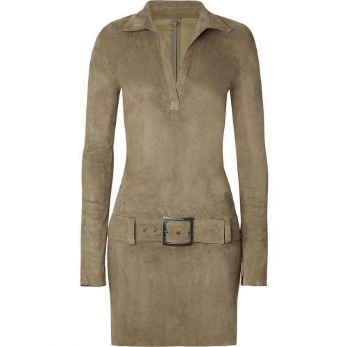Jitrois Dark Khaki Belted Stretch-Leather Dress