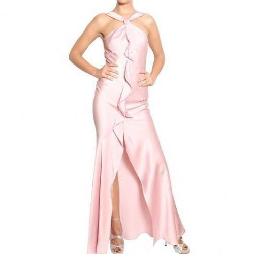 John Galliano Satin Rücken Crepe Shiny Kleid