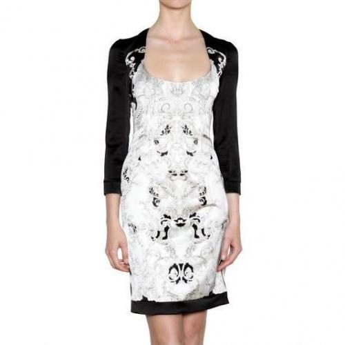 Just Cavalli Bedrucktes Stretch-Satin-Kleid Weiß