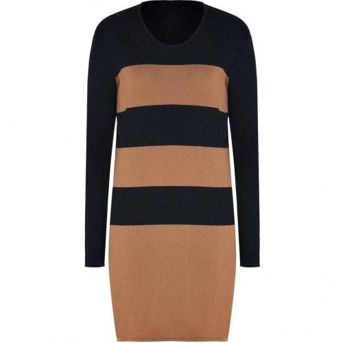 Lala Berlin Black/Cognac Striped Merino Knit Laurel Dress