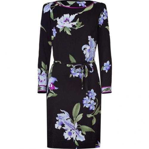 Leonard Black/Iris Printed Textured Dress