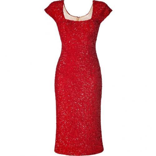 LWren Scott Red Silk Sequined Mid-Length Sheath