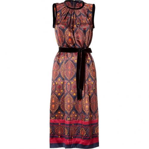 Marc by Marc Jacobs Dark Brown/Multicolor Wonderland-Print Silk Dress