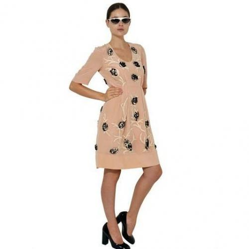 Marni Besticktes Seiden Krepp De Chine Kleid Beige