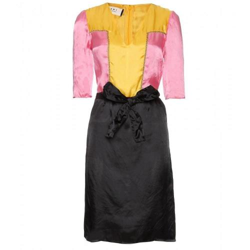Marni Edition Color-Blocking Kleid Mit Drapierter Schleife