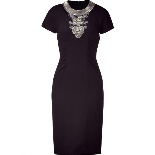 Matthew Williamson Black Beaded Cut Out Sheath Dress