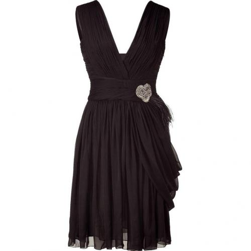 Matthew Williamson Black Draped Silk Chiffon Dress