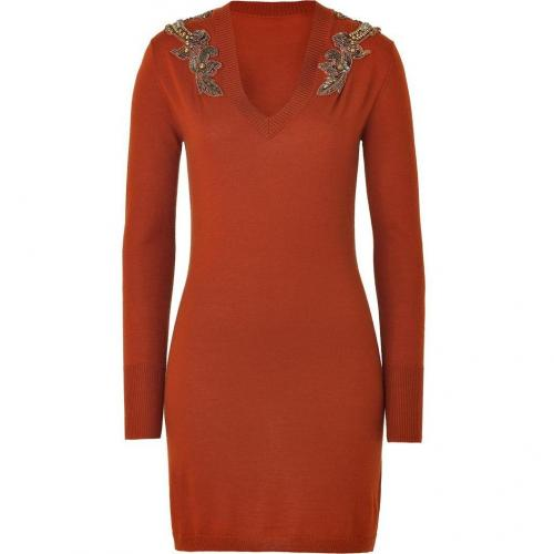Matthew Williamson Burnt Orange Embellished Knit Dress