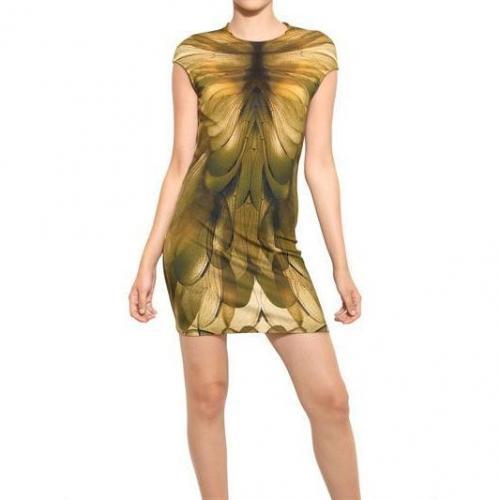 McQ Alexander McQueen bedrucktes kurzes Jersey-Stretch Kleid Mit Cap Ärmeln Gelb Grün
