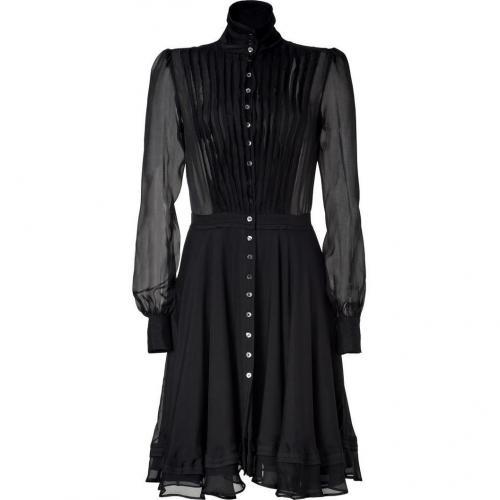 McQ Alexander McQueen Black Sheer Raw Edge Silk Dress