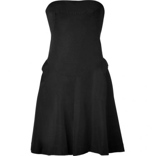 McQ Alexander McQueen Black Twill Bustier Origami Dress