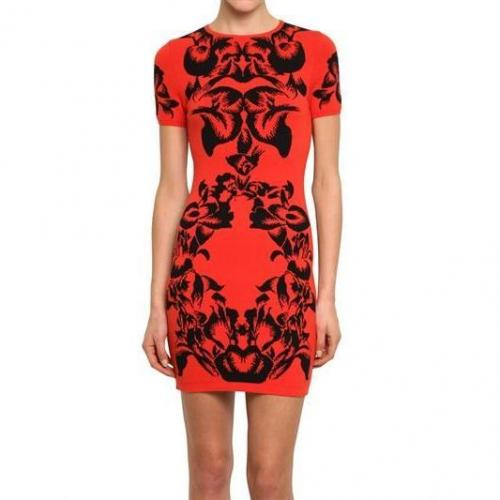 McQ Alexander McQueen Kurzärmliges Kleid Aus Jacquard-Maschenware