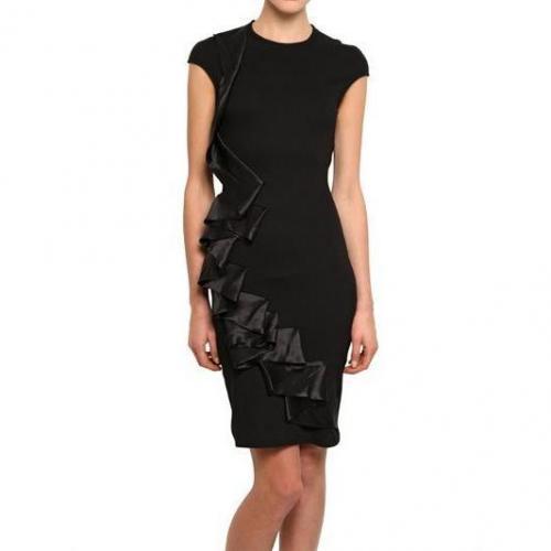 McQ Alexander McQueen Seidenrüschen Auf Kleid Aus Stretchviskose