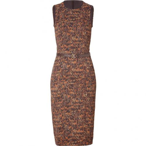 Michael Kors Brown Belted Sheath Dress
