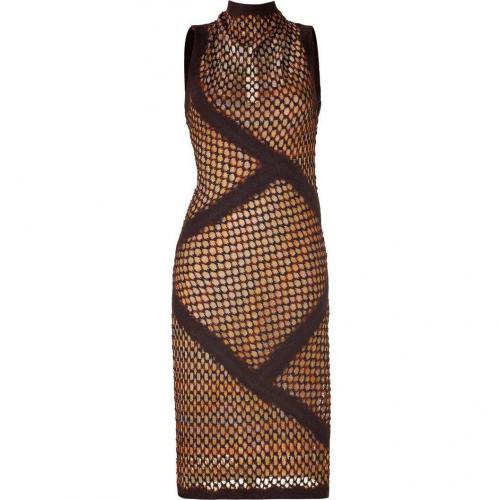 Missoni Espresso/Curry Wool-Blend Variegated Knit Dress