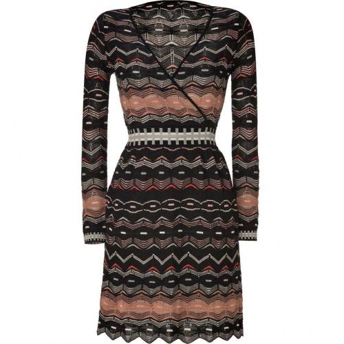 Missoni M Black/Nougat Variegated Wool-Blend Dress