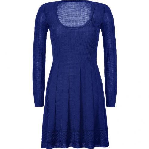 Missoni M Dark Blue Wool-Blend Scoop Neck Knit Dress