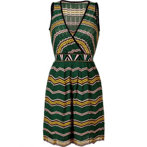 Missoni M Green/Rose/Yellow Zigzag Knit Dress