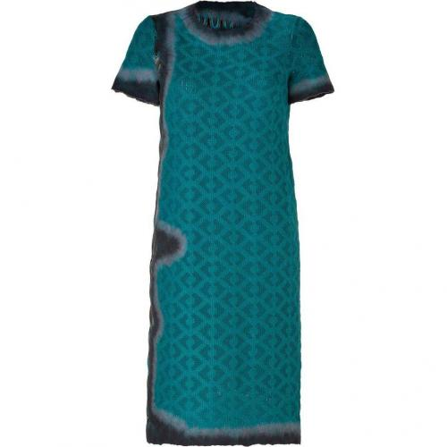 Missoni Pigeon/Gentian Blue Wool-Blend Variegated Knit Dress
