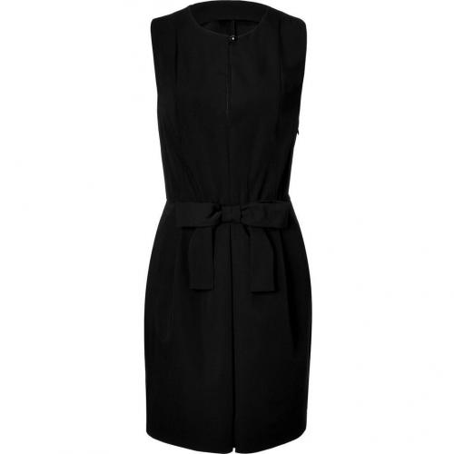 Moschino C&C Black Wool Dress with Bow Sash