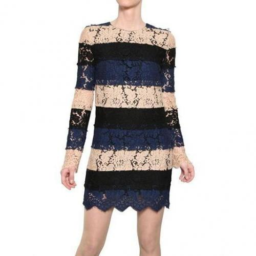 MSGM Baumwoll Spitzen Kleid Schwarz Blau