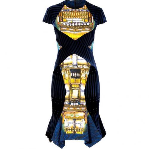 Peter Pilotto Blue-Gold Velvet Patchwork Dress