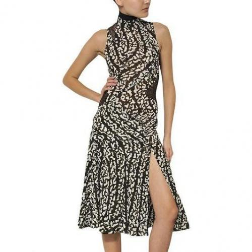 Proenza Schouler Crepe De Chine Bedrucktes Kleid Mit Seidenspitze
