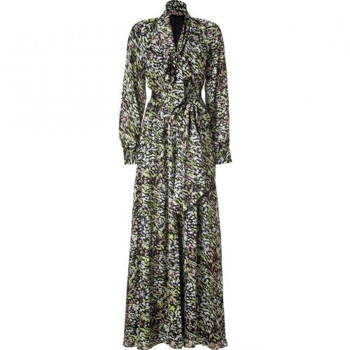Rachel Zoe Black/Lime Belted Silk Maxi Dress