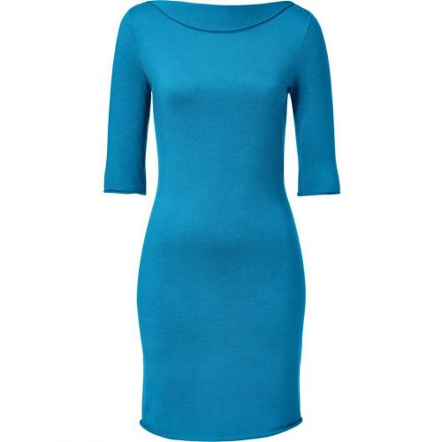 Ralph Lauren Black Caribbean Blue Cashmere-Silk Elbow Sleeve Dress