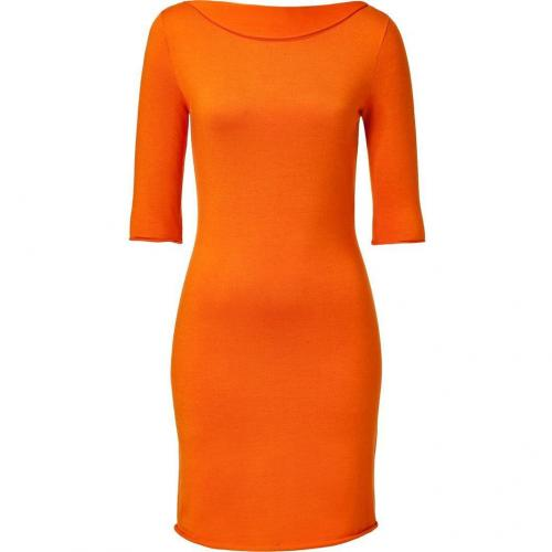 Ralph Lauren Black Orange Cashmere-Silk Elbow Sleeve Dress
