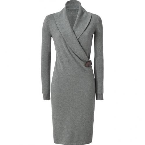 Ralph Lauren Black Steel Melange Cashmere Shawl Collar Dress