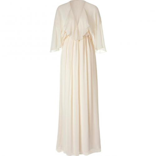 Ralph Lauren Collection Champagne Beaded Crinkle Chiffon Chandra Dress