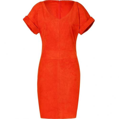 Ralph Lauren Collection Orange Suede Shiloh Dress