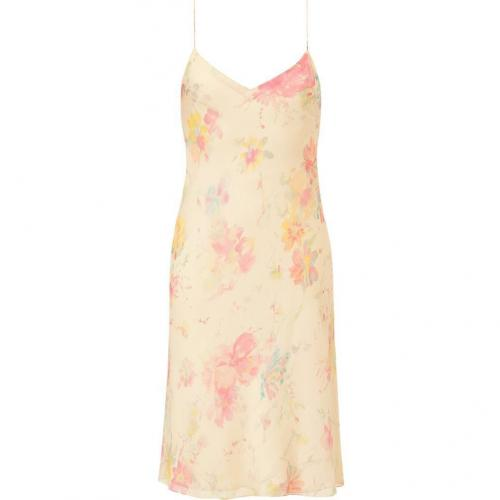 Ralph Lauren Collection Vanille Multi Butterfly Floral Georgette Mara Slip Dress
