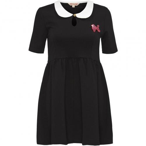 Review Kleid schwarz rotes Logo
