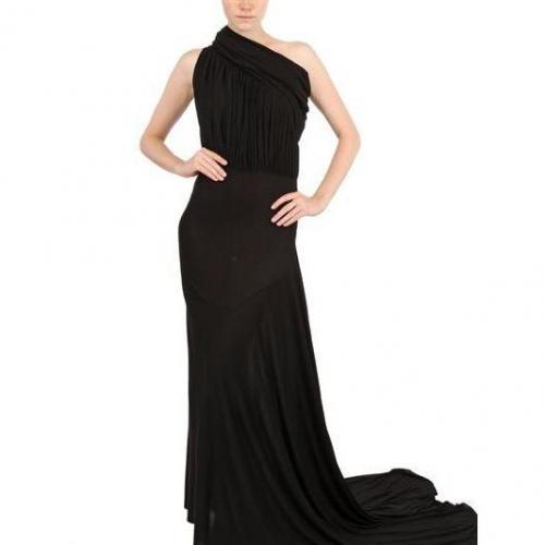 Rick Owens Drapiertes Viskose Seiden Jersey Langes Kleid