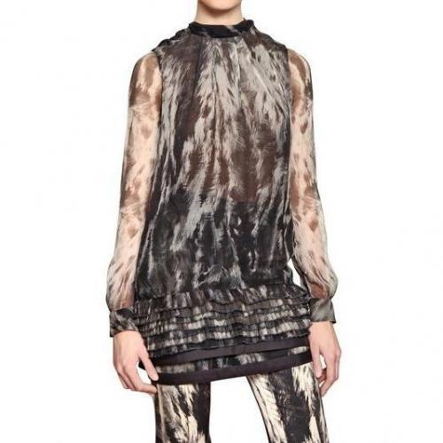 Roberto Cavalli Bedrucktes Seiden Muslin Kleid