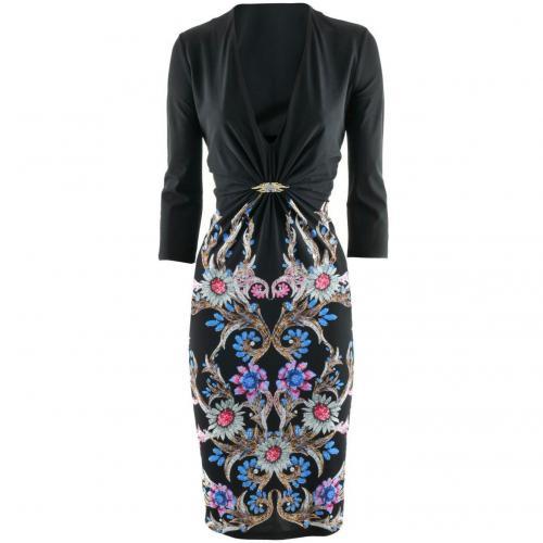 Roberto Cavalli Black Multi Print Dress Wings