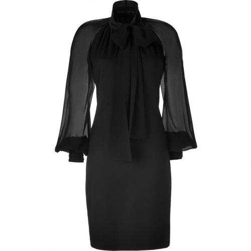 Roberto Cavalli Black Tie Neck Wool Dress With Silk Sleeves