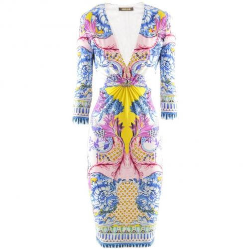 Roberto Cavalli Bleu White Print Dress Wings