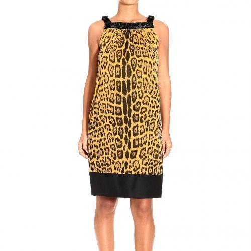 Roberto Cavalli Braces silk embroidery jaguar print dress